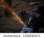 metal work. man grinds a steel... | Shutterstock . vector #1106560211