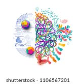 left and right brain  concept... | Shutterstock .eps vector #1106567201