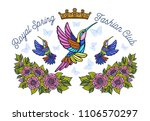 hummingbirds butterflies crown... | Shutterstock .eps vector #1106570297
