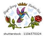 hummingbirds butterflies crown... | Shutterstock .eps vector #1106570324