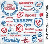 set of hand drawn school sports ... | Shutterstock .eps vector #110657087
