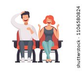 smiling couple sitting in... | Shutterstock .eps vector #1106580824