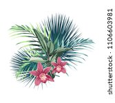 tropical flowers  palm leaves ... | Shutterstock .eps vector #1106603981