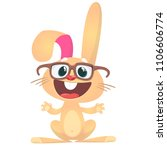 happy cartoon rabbit wearing... | Shutterstock .eps vector #1106606774