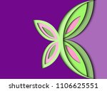 Stock vector butterfly of paper purple background in style to paper cut 1106625551