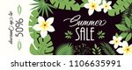 sale banner  poster with palm... | Shutterstock .eps vector #1106635991