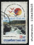 Small photo of RUSSIA KALININGRAD, 2 JUNE 2016: stamp printed by Thailand, shows beautiful nature of ASEAN countries, 1992