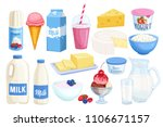 vector set dairy products.... | Shutterstock .eps vector #1106671157
