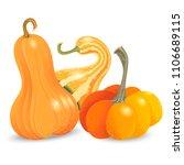 three different pumpkin... | Shutterstock . vector #1106689115