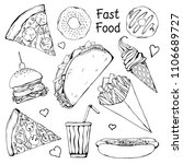 set of different fast food.... | Shutterstock .eps vector #1106689727