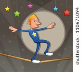 funny equilibrist is walking on ...   Shutterstock .eps vector #110671094