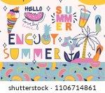 summer lettering. summer... | Shutterstock .eps vector #1106714861