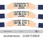 100 us dollar banknote. hands... | Shutterstock .eps vector #1106715824