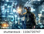 soldier in glasses of virtual... | Shutterstock . vector #1106720747