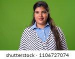 studio shot of young overweight ... | Shutterstock . vector #1106727074