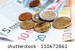 money euro coins and banknotes | Shutterstock . vector #110672861