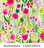 watercolor texture with flowers ... | Shutterstock . vector #1106733011