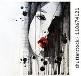 watercolor portrait of... | Shutterstock . vector #110674121