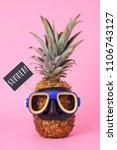 closeup of a pineapple wearing... | Shutterstock . vector #1106743127