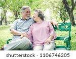 happy elderly couple with... | Shutterstock . vector #1106746205