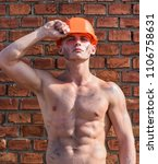 builder with muscular torso and ... | Shutterstock . vector #1106758631