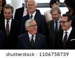 Small photo of Brussels, Belgium. 6th June, 2018.EU Commission President Jean-Claude Juncker poses for a family photo with members of the Austrian government and of the EU Commission.
