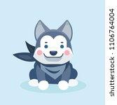 cute cartoon siberian husky...   Shutterstock .eps vector #1106764004