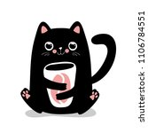 kawaii black cat with coffee... | Shutterstock .eps vector #1106784551