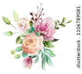 beautiful watercolor floral... | Shutterstock . vector #1106789081