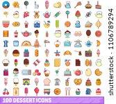 100 dessert icons set. cartoon... | Shutterstock . vector #1106789294