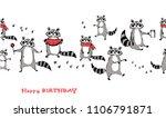 racoon seamless ornament.... | Shutterstock .eps vector #1106791871