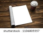 mock up a magazine and coffee... | Shutterstock . vector #1106805557
