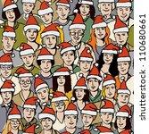 big group people in santa hats... | Shutterstock .eps vector #110680661