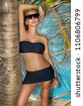 beautiful sexy woman in bikini... | Shutterstock . vector #1106806799