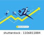 businessman runs forward to... | Shutterstock .eps vector #1106811884