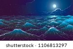 vector large ocean waves and... | Shutterstock .eps vector #1106813297
