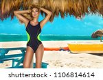 beautiful sexy woman  surfer in ... | Shutterstock . vector #1106814614