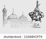 eid mubarak free hand drawing... | Shutterstock .eps vector #1106841974
