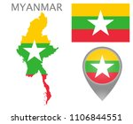 colorful flag  map pointer and... | Shutterstock .eps vector #1106844551