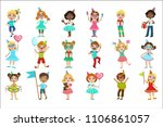 kids on birthday party set | Shutterstock .eps vector #1106861057