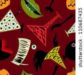 halloween elements on dark red seamless pattern - stock vector