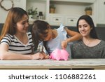 girl learning investment with... | Shutterstock . vector #1106882261