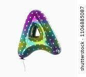 letter a. colorful vivid disco... | Shutterstock . vector #1106885087