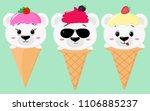 a set of three cute polar bears ... | Shutterstock .eps vector #1106885237