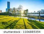 green tree in park with modern... | Shutterstock . vector #1106885354