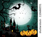 halloween card with pumpkin and ... | Shutterstock .eps vector #110688551