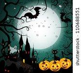 halloween card with pumpkin and ...   Shutterstock .eps vector #110688551