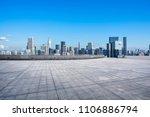 empty square floor with city... | Shutterstock . vector #1106886794