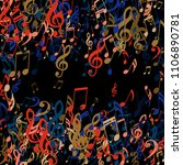 square frame of musical symbols.... | Shutterstock .eps vector #1106890781