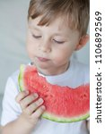 a small cute boy 4 years old is ... | Shutterstock . vector #1106892569